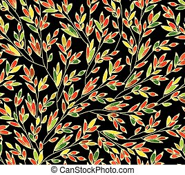 seamless, bright dark background with multicolored spikelet...