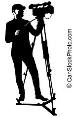 cameraman with video camera - vector black silhouette of...