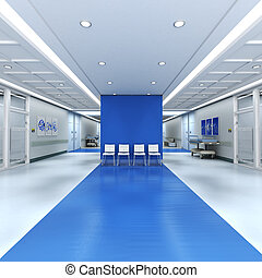 Hospital blue - 3D rendering of a hospital interior with...