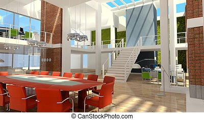 office in a loft - 3D rendering of a contemporary luxurious...