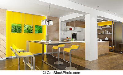 Dream kitchen - 3D rendering of a modern design kitchen...