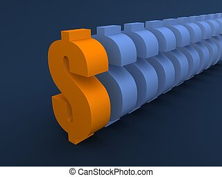 dollar signs - 3d rendered illustration of dollar signs...