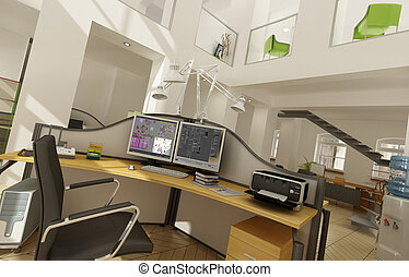 Great office interior - Rendering of a beautiful office...