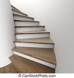 Winding staircase - 3D rendering of a flight of stairs