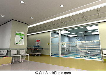 Medical center - 3D rendering of an upscale modern clinic