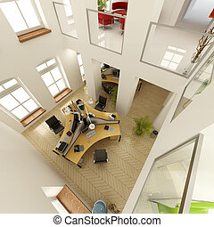 Aerial view of a luxurious office - 3D rendering of an...