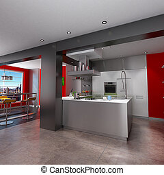 Breathtaking kitchen - 3D rendering of a magnificent red and...