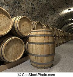 Wine cellar rendering - 3D rendering of a wine cellar
