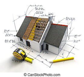 Construction project underway - House under construction on...