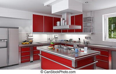 Red kitchen - 3D rendering of a modern spacious kitchen in...