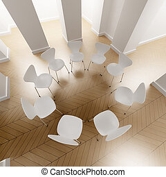 White circle of chairs