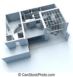 Architecture building - White architecture model with a...