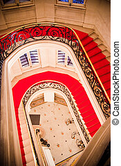 Elegant stairwell in a stately building
