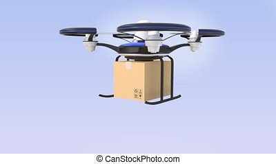 Drone flying and carrying cardboard box