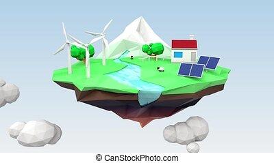 Floating ecology island - Low ploy style floating ecology...