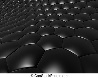 black cells - 3d rendered illustration of abstract black...
