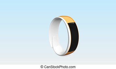Colorful smart wristbands on gradient background