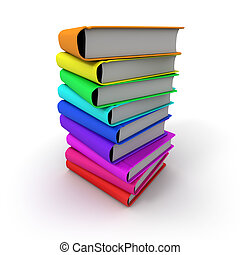 Pile of multicoloured books - 3D rendering of a pile of...