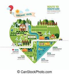 Infographic, salud, cuidado, corazón, forma,...