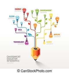 Infographic pencil with light bulb flat line idea. Vector...