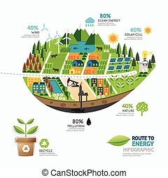 Infographic energy leaf shape template design.route to clean...