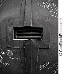 Black door with peek hole - Black door with a peephole...