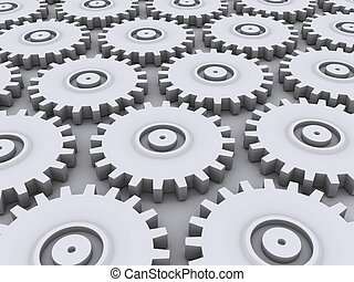 3d gears - 3d rendered illustration of some silver metal...
