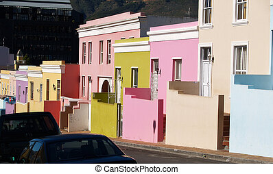 Bo-Kaap quaint housing. - Bo-Kaap, Muslim area of Cape Town,...
