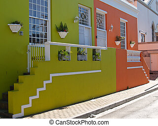 Coloured homes - Suburban Cape town pastel coloured homes,...
