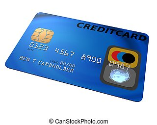 credit card - 3d rendered illustration of a blue credit card