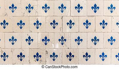 Old tiles fleur de lys - Old tiles with a fleur de lys...