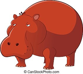 Hippopotamus - Vector image of a brown cartoon Hippopotamus
