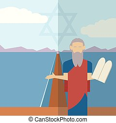 Moses and sea icon 1 - Vector image of an icon of Moses