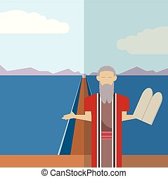 Moses and sea icon 2 - Vector image of an icon of Moses