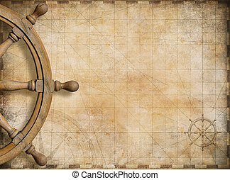 steering wheel and blank vintage nautical map background -...