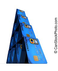 credit cards - 3d rendered illustration from a tower of...