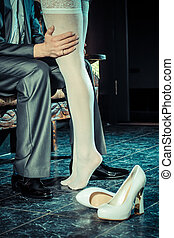 girl in white stockings seduces man indoors Embrace the men...