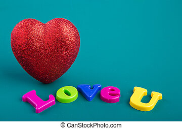 Love hearts on greeen background