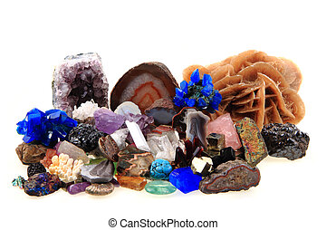 color minerals and gems collection isolated on the white...