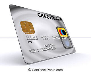 credit card - 3d rendered illustration of a silver credit...