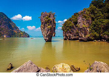 James Bond island Koh Tapu - Khao Phing Kan featuring the...