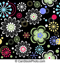 Seamless floral black pattern (vector)