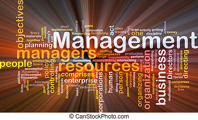 Management word cloud glowing - Word cloud concept...
