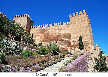 Almeria Castle. - View of the Moorish Castle and gardens,...