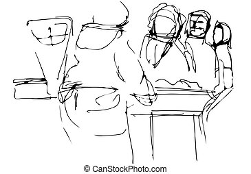 sketch of all the people at the counter with the seller