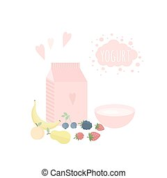 Vector illustration with yoghurt an