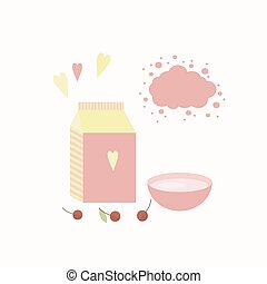 Vector illustration with yoghurt