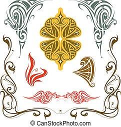 Set of vintage design elements - Art nouveau style design...