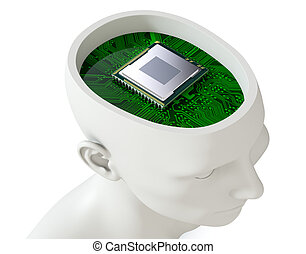 electronic brain - one head of a manikin with an electronic...