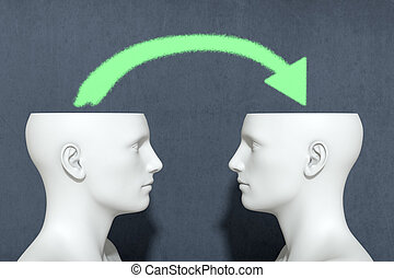 concept of information sharing - two heads with an arrow,...